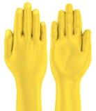 parte dianteira e parte traseira lisas da palma da mão 3D dourada Imagens de Stock