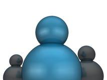 Parte dianteira estando do líder de negócio bem sucedido de sua equipe Imagens de Stock