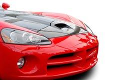 Parte dianteira vermelha do carro de esportes isolada Imagem de Stock