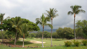 Parte do fairway em um campo de golfe em Maui, Havaí Foto de Stock Royalty Free