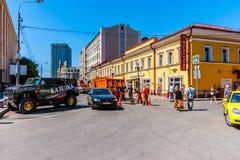 A parte do fundo da rua de Arbat de Moscou Fotos de Stock Royalty Free