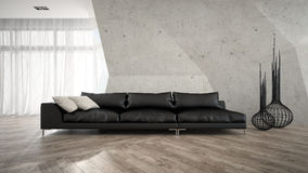 Parte do interior à moda com rendição preta do sofá 3D Fotos de Stock Royalty Free