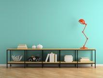 Parte do interior com console e rendição vermelha da lâmpada 3D Imagem de Stock Royalty Free