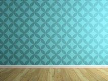 Parte do interior com o papel de parede azul 3D que rende 2 Imagem de Stock