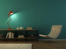 Parte do interior com rendição vermelha retro da lâmpada 3D Imagem de Stock Royalty Free