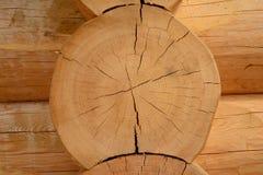 Parte do quadro de madeira dos logs de planeamento do pinho Fotos de Stock