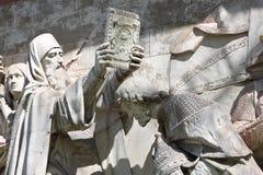 Parte do relevo alto da catedral de Cristo o salvador no monastério de Donskoy, Moscou imagens de stock