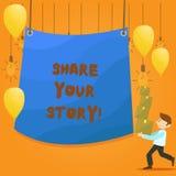 Parte do texto da escrita da palavra sua história Conceito do negócio para a memória da nostalgia da experiência pessoal ilustração stock