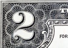 Parte do U S Dois dólares Bill , isolado Foto de Stock