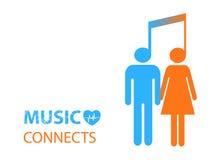 Parte - dois povos que escutam a mesma música ilustração stock