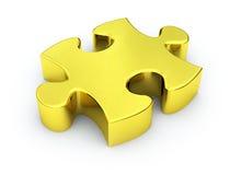 Parte dorata di puzzle Fotografia Stock