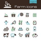 Parte 1 dos ícones da exploração agrícola Fotografia de Stock