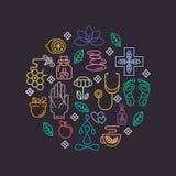 Parte 2 dos ícones da medicina alternativa Fotografia de Stock