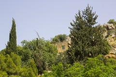 Parte dos jardins e dos caminhos antigos da água de Banias na parte inferior do Monte Hermon em Golan Heights Israel norte fotografia de stock royalty free