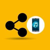 Parte em linha da música de Smartphone Imagem de Stock Royalty Free