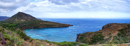 Parte externa Honolulu da baía de Hanauma apenas, Havaí imagens de stock