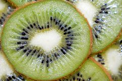 Parte fresca de la macro de la fruta de kiwi fotografía de archivo libre de regalías