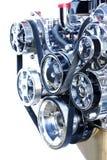 A parte frontal de um motor do cromo do elevado desempenho fotografia de stock