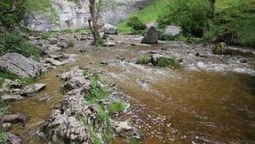 Parte inferior de la corriente de la ensenada de Malham de la atracción popular BRITÁNICA del visitante del parque nacional de lo almacen de video