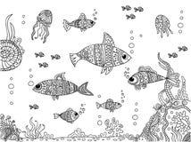 Parte inferior de mar en estilo del garabato libre illustration