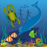 Parte inferior de oceano ilustração do vetor