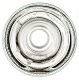 Parte inferior de una botella de cristal en un fondo blanco Imagenes de archivo