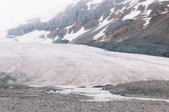 Parte inferior del glaciar de Athabasca foto de archivo