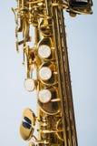 Parte inferior del saxofón del soprano media Imagen de archivo libre de regalías