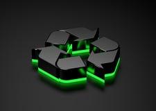 Parte inferior que brilla intensamente reciclable de la luz verde de la muestra Foto de archivo libre de regalías