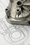 Parte mecânica no desenho de engenharia Foto de Stock Royalty Free