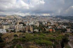 Parte moderna di panorama di Byblos, costa Mediterranea, Libano Immagini Stock