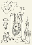 Parte-para baixo-menino ilustração royalty free