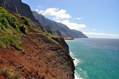 Parte pericolosa della traccia di Kalalau, Kauai, Hawai Fotografia Stock