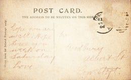 Parte posterior de la postal del vintage con manuscrito Imagen de archivo