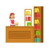 Parte posterior de Putting The Books del bibliotecario en el estante, ejemplo sonriente de Person In The Library Vector Imagenes de archivo
