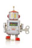 Parte posterior del juguete mecánico del vintage del robot Fotos de archivo