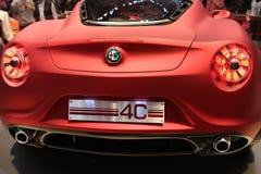 Parte posterior del prototipo de Alfa Romeo 4C Fotos de archivo