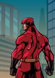 Parte posterior del super héroe ninguna ciudad del cabo Imagenes de archivo