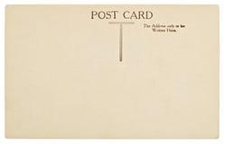 Parte posterior en blanco de la postal del vintage Imagen de archivo