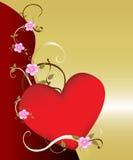 Parte posterior floral romántica del corazón w Imagenes de archivo