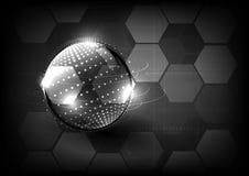 Parte posterior moderna tecnológica del extracto del hexágono de la comunicación global Imagenes de archivo