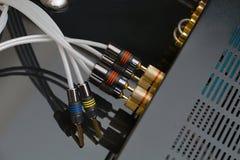 Parte posteriore ad alta fedeltà dell'amplificatore Fotografia Stock Libera da Diritti