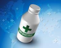 Parte posteriore blu del mondo della bottiglia di plastica della medicina Immagini Stock