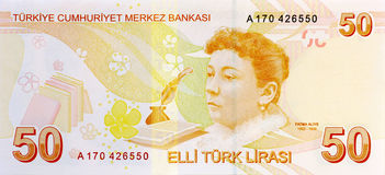 Parte posteriore della banconota da 50 Lire Fotografie Stock Libere da Diritti