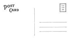 Parte posteriore della cartolina immagini stock