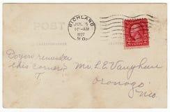 parte posteriore della cartolina degli anni 20 con il bollo rosso Fotografie Stock Libere da Diritti