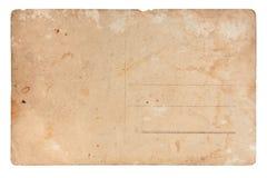 Parte posteriore della cartolina dell'annata fotografia stock