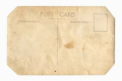 Parte posteriore della cartolina dell'annata immagine stock libera da diritti