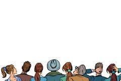 Parte posteriore di conferenza del fondo del pubblico della gente illustrazione di stock