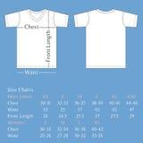 Parte posteriore e parte anteriore del modello della maglietta con il grafico di dimensione per l'uomo e la donna Fotografia Stock Libera da Diritti